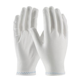 PIP Stretch Zig Zag Silicone Free Men's Inspection Glove - Pair of two white safety inspection work gloves shown upright with blue threading.