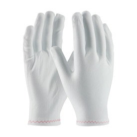 PIP Stretch Zig Zag Silicone Free Women's Inspection Glove - View of single white inspection safety work glove.