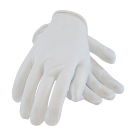 Rolled Hem Stretch Nylon Clean Room Men's Glove - Pair of two white inspection safety work gloves with short wrist and red threading.