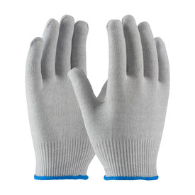 15 Gauge Seamless Knit Electrostatic Dissipative Gloves - View of two gray uncoated seamless work gloves with blue hemming.
