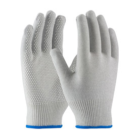 Electrostatic Dissipative PVC Dotted Nylon Carbon Glove - View of two gray uncoated seamless work gloves with blue hemming and dotted grips.