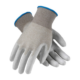 Electrostatic Dissipative PU Coated Nylon Carbon Glove - View of two gray uncoated seamless work gloves with blue hemming and elastic fabric wrists.