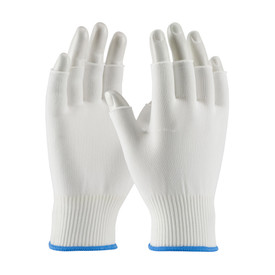 Fingerless Medium Weight 100_ Nylon Seamless Glove - Lightweight threaded fingerless safety work gloves with elastic fabric wrists and blue hemming.
