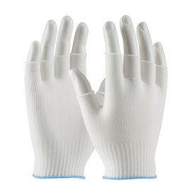 Fingerless Light Weight 100_ Nylon Uncoated Seamless Glove - Lightweight threaded fingerless safety work gloves with blue hemming.