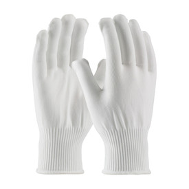 Full Finer Mid-Weight 100_ Nylon Uncoated Seamless Glove - White uncoated safety work gloves with elastic fabric wrists and white hemming.