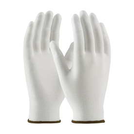 Polyurethane Coated Finger Tips Nylon Clean Glove - White seamless threaded safety work gloves with brown hemming.