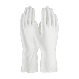 Powder Free Class 10 Cleanroom 5 mil Vinyl 12 Inch Glove - White vinyl safety work gloves with long wrists, shown upright.