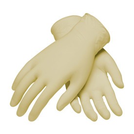 Powder Free Latex 9.5 Inch 9 mil Class 100 Textured Glove - Tan vinyl safety work gloves with short wrists.