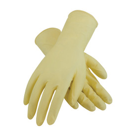 Powder Free Latex 12 Inch 7 mil Class 100 Textured Glove - Tan vinyl safety work gloves with long wrists.