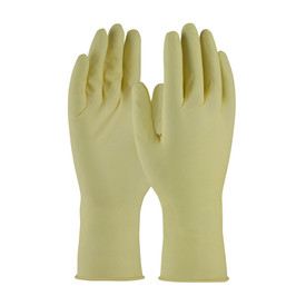 Powder Free Latex 12 Inch 7 mil Class 10 Textured Glove - Tan vinyl safety work gloves with long wrists, shown upright.