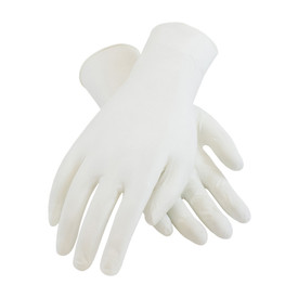 Powder Free Nitrile 9.5 Inch 5 mil Class 100 Textured Glove - White vinyl safety work gloves with long wrists.
