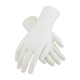 Powder Free Nitrile 12 Inch 5 mil Class 100 Textured Glove - White vinyl safety work gloves with long wrist guards.