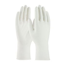 Powder Free Nitrile 12 Inch 5 mil Class 10 Textured Glove - White vinyl safety work gloves with medium wrist guards, shown upright.