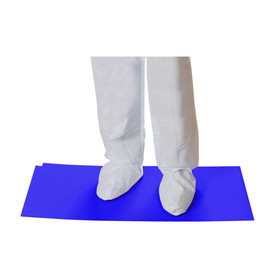 Adhesive Coated Contamination Control Mats - Blue adhesive anti contamination control mats shown in action.