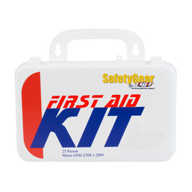 PIP ANSI 25 Person 24 Component First Aid Kit - Small standard first aid kit with handle in package.