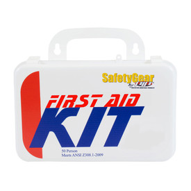 PIP ANSI Compliant 50 Person 25 Component First Aid Kit - Small standard first aid kit with handle in package.