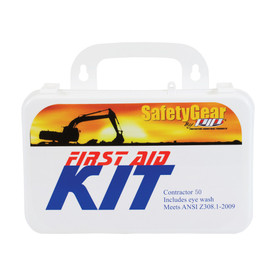 PIP ANSI Contractor 50 Person 20 Component First Aid Kit - Small standard contractor fifty first aid kit with handle and eye wash in package.
