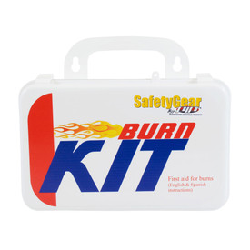 PIP 6 Component Burn Kit - Small standard burn aid kit with handle and bilingual instructions in package.