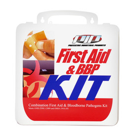 PIP ANSI First Aid & Blood borne Pathogens Combination Kit - Medium standard blood borne pathogen bio hazard kit in package.