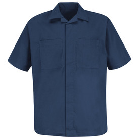 Red Kap Zipper Front 2 Pocket Uniform Shirt Jacket - Red Kap navy blue short sleeve convertible shirt jacket with button, 2 chest pockets and collar. Front view.