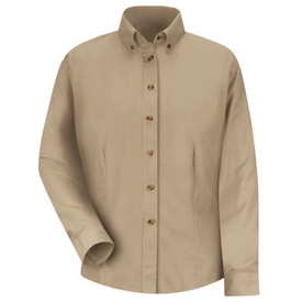 Red Kap Women's Twill Button Down Long Sleeve No Pocket Shirt - Red Kap light brown long sleeve shirt with collar. Button up. 2 Pleats on left and right chest area. With pleated cuffs. Front view.