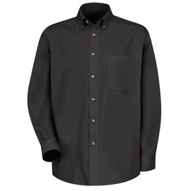 Red Kap Men's Twill Button Down Long Sleeve Shirt - Red Kap black long sleeve shirt with collar. Button up. 1 Front chest pocket. Pleated cuffs. Front view.