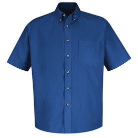 Red Kap Men's Twill Button Down Short Sleeve 1 Pocket Shirt - Red Kap royal blue short sleeve shirt with collar. Button up. 1 Front chest pocket. Pleated cuffs. Front view.