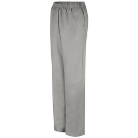 Red Kap Women's Pincord Elastic Waistband pants - Front view of women's black Pincord pants with elastic waist