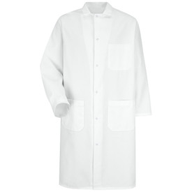Red Kap White 6 Gripper Front 3 Pocket Long Butcher Coat - Red Kap white long sleeve shirt with collar. 1 Front chest pocket. 2 Lower waist pockets. Buttons up. With cuffs. Front view.