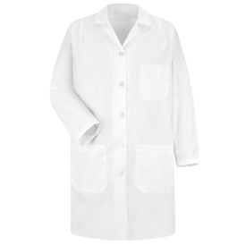 Red Kap Women's 5 Button 3 Pocket White Lab Coat - Red Kap white long sleeve coat with 1 chest pocket and 2 waist pocket. With collar. Front view.