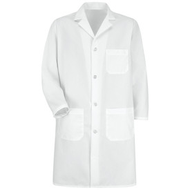 Red Kap Men's 4 Button 3 Pocket Notched Lapel Lab Coat - Red Kap white long sleeve work shirt with 1 chest pocket and 2 waistline pocket. With collar and cuffs. With buttons. Front view.