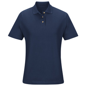 Red Kap Women's Cotton Pique Knit Polo Shirt - Red Kap navy blue basic polo shirt with 3 buttons and attached collar. Front view.