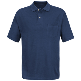Red Kap Men's 2 Button Pique Knit Cotton Polo Shirt - Red Kap navy blue polo with 3 buttons and attached collar and cuffs. Front view.