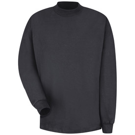 Red Kap Long Sleeve Cotton Mock Turtleneck Shirt - Red Kap black long sleeve mock shirt with turtle neck and cuffs. Pocketless. Front view.
