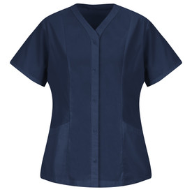 Red Kap Women's 5 Button Housekeeping Poplin Tunic - Red Kap navy blue short sleeve easy wear tunic with v-cut neck collar. 2 Pleats on left and right area. 2 Lower pockets. Front view.