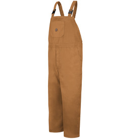 Red Kap 10 oz Insulated Duck Bib Overall - Red Kap brown duck insulated bib overall with gartered straps. 1 Pleated waistline area. 2 Lower v-cut pockets. 1 Front chest pocket with 1 circular markings on the center. Front view.