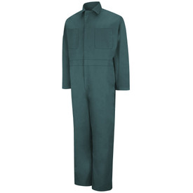 Red Kap Men's Multi Pocket Coverall - Red Kap spruce green twill back overalls with gartered waist band. 2 Front chest pockets. With collar. Front view.