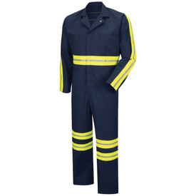 Red Kap Men's 7 Pocket Hi-Viz Coverall - Red Kap black overall with closed type collar. Yellow and grey high visibility band on lower legs. Upper waistline band and behind arms. Front view.