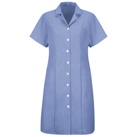 Red Kap Women's Housekeeping Short Sleeve Dress  - Red Kap blue short sleeve work dress with V-neck collar. With 2 pleats beyond shoulders and below. 2 Lower front pockets. Buttons up. Front view.