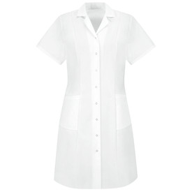 Red Kap Women's Short Sleeve 2 Pocket Housekeeping Dress - Red Kap white short sleeve work dress with V-neck collar. With 2 pleats beyond shoulders and below. 2 Lower front pockets. Buttons up. Front view.