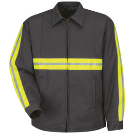 Red Kap Lined Hi-Viz Work Jacket - Red Kap charcoal long sleeve jacket with Yellow and grey double high visibility band on upper arm side and upper waist band. Front view.