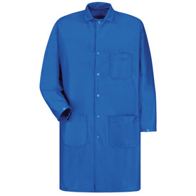 Red Kap ESD Anti-Static Lab Tech Coat - Red Kap blue long sleeve lab coat with collar. 1 Front chest pocket. 2 Lower front waist pockets. Front view.