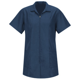 Red Kap Women's Zipper Front 2 Pocket Housekeeping Smock - Red Kap Navy short sleeve women's smock with V-neck cut collar, 2 Lower waist pockets. Front view.
