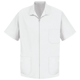 Red Kap Men's Zipper Front 3 Pocket Housekeeping Smock - Red Kap White short sleeve smock with collar, 1 front chest pocket, 2 Lower waist pockets. Front view.