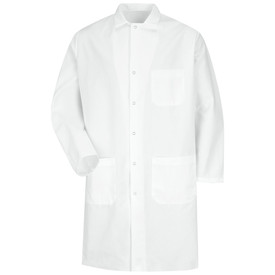 Red Kap 6 Gripper Food Processing Coat - Red Kap white long sleeve work coat with plain cut collar, 1 Front chest pocket and 2 Lower waist pockets. Front view.