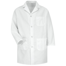 Red Kap Men's White 4 Button Healthcare Coat - Red Kap white long sleeve work coat with collar, 1 Front chest pocket and 2 lower waist pockets. Front view.