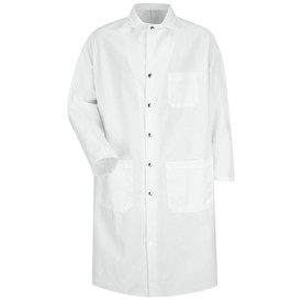 Red Kap Men's White 3 Pocket Food Processing Coat - Red Kap white long sleeve work coat with collar, 1 Front chest pocket and 2 Lower waist pockets. Front view.