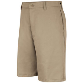 Red Kap Men's Cotton Wrinkle Free Work Shorts - Khaki shorts with belt loops and 2 front pockets.
