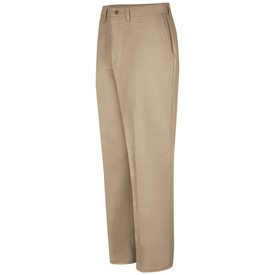 Red Kap Men's 4 Pocket Cotton Work Pant - Red Kap khaki pants with 2 front pockets and belt loops. Front view.