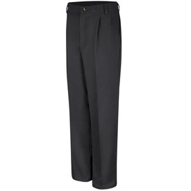 Red Kap Men's Pleated Cotton Work Pant - Red Kap black pants with 2 front pockets, crease, pleats and belt loops. Front view.